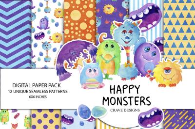 Happy Monsters Digital Paper