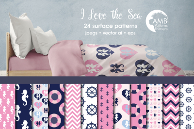 Sea Surface Patterns, Pink Nautical Papers, AMB-116