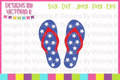 4th July Star Flip Flops, SVG, DXF, PNG, EPS