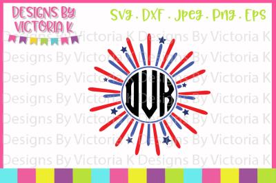 Firework Monogram, 4th July, SVG, DXF, EPS, PNG