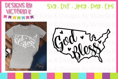 God Bless USA, 4th July, SVG, DXF, EPS, PNG
