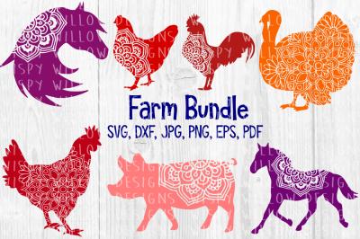 Farm Animal Mandala Bundle, Horse, Hen, Rooster, Pig, Turkey, Chicken