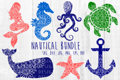 Nautical Sea Animal Mandala Bundle, Mermaid, Whale, Turtle, Starfish