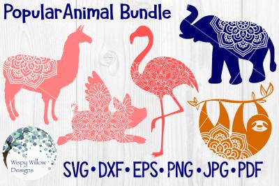 Popular Animal Mandala Bundle, Sloth, Llama, Flamingo, Elephant, Pig