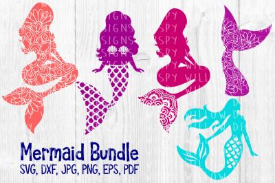 Mermaid Bundle SVG/DXF/EPS/JPG/PNG/PDF, Nautical, Summer, Beach
