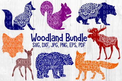 Woodland Animal Mandala SVG Bundle, Fox, Bear, Elk, Moose, Squirrel