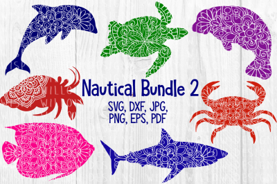 Nautical Mandala SVG Bundle 2, Dolphin, Shark, Turtle, Manatee, Crab