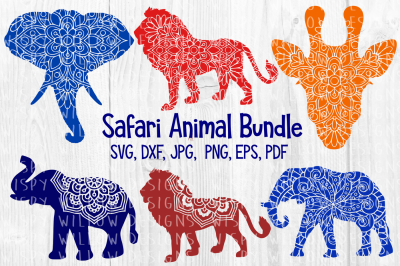 Safari Animal Mandala Bundle, Lion, Giraffe, Elephant, Africa, SVG DXF