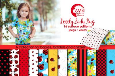Lovely Ladybug Surface Patterns, Ladybug Paper, AMB-1059