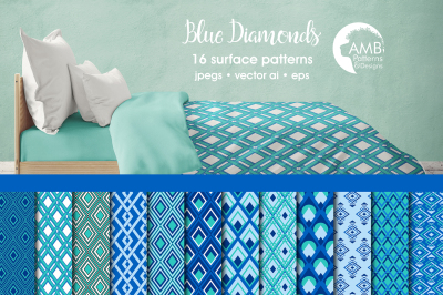 Blue Diamonds Surface Patterns, Geometric Papers, AMB-1075