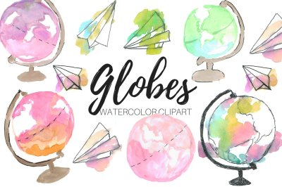 `Watercolor Globe Clipart