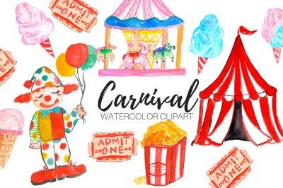 Watercolor Carnival Circus Clipart