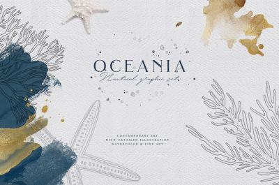 Oceania. Nautical graphic set