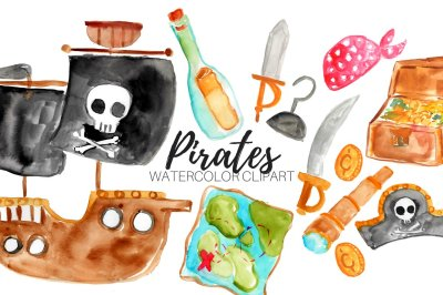 Watercolor Nautical Pirate Clipart