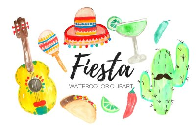 Watercolor fiesta party clipart