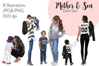 Watercolor Fashion Clipart - Mother & Son - Dark Skin