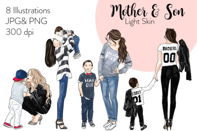 Watercolor Fashion Clipart - Mother & Son - Light Skin