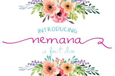 Nemana : A font duo by watercolor Floral designs