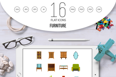 Furniture icons set, flat style