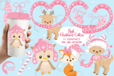 Pink Christmas Critters cliparts, Xmas critters cliparts AMB-1522