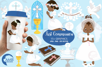 First Communion cliparts, AA Girl Communion cliparts AMB-1917