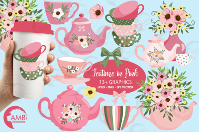 Teatime in Pink cliparts, Teatime cliparts AMB-1981