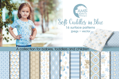 Soft Cuddles in Blue patterns, Nursery papers AMB-1451