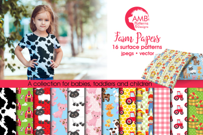 Farm patterns, Farm Animal papers AMB-1493