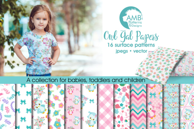 Owl Gal patterns, Girly Owl papers AMB-1503
