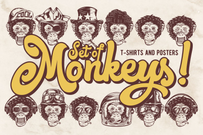 Monkey faces. T-shirts and Posters
