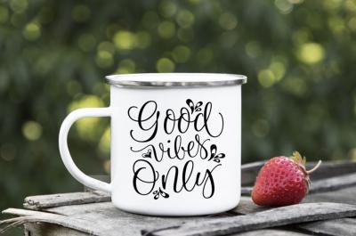 Camping mug enamel cup mock up tin camp vegan mockup silver rim psd