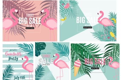 Abstract Summer Sale Background with Flamingo and Palm Leaves. Vector