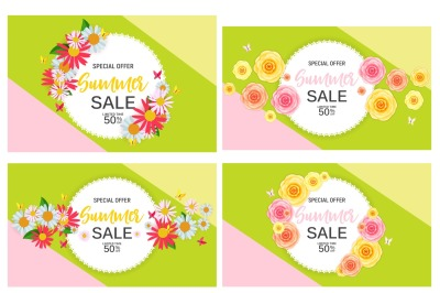 Abstract Summer Sale Background with Frame and Flowers. Vector