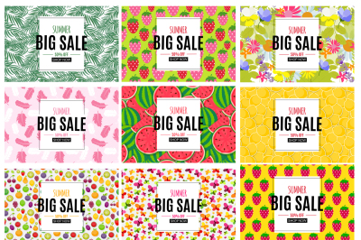 Abstract Summer Sale Backgrounds Collection Set. Vector illustration a