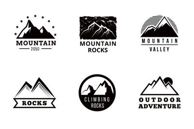 Mountains vector logo, badges and emblems set