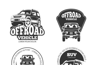 Suv pickup retro vector emblems, logos, badges and labels