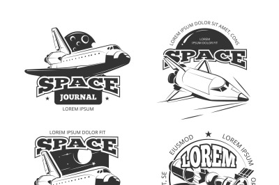 Cosmos, space astronaut badges, emblems and logos vector set