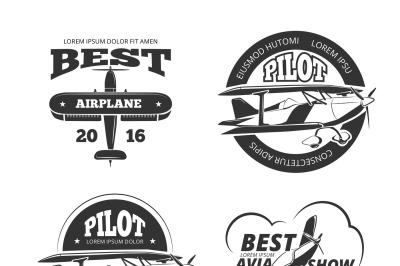 Retro airplane, aircraft vector labels set