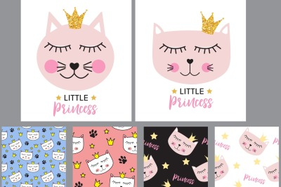 Little Cute Cat Princess Background and Seamless Pattern. Vector