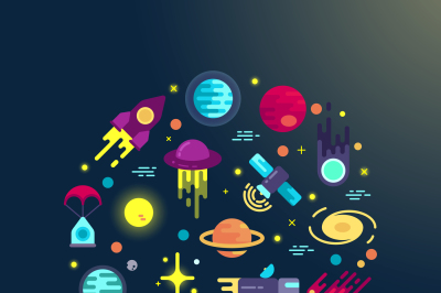 Space flat icons composition