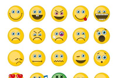 Emoji, emoticons vector icons set