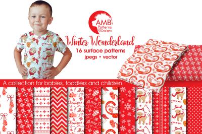 Winter Wonderland patterns, Christmas Critter papers AMB-1511