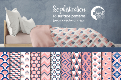 Pink Geometric Surface Patterns, Geometric Papers, AMB-1079