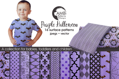 Purple Halloween Surface Patterns, Halloween Paper, AMB-1097