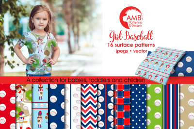 Girl Baseball Surface Patterns, Baseball Papers, AMB-1226