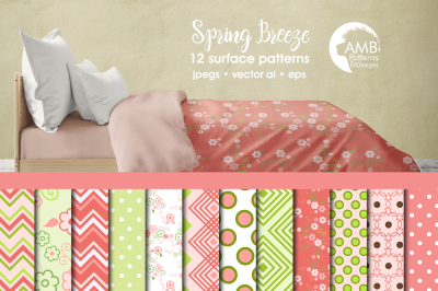 Spring Breeze Surface Patterns, Spring Papers, AMB-1249