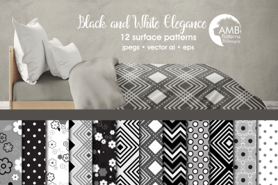 Black and White Geometric Surface Patterns, Geometric Papers, AMB-1264