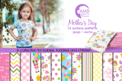 Mother's Day Surface Patterns, Mother's Day Papers, AMB-1279