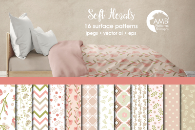 Soft Floral Surface Patterns, Floral Papers, AMB-1289