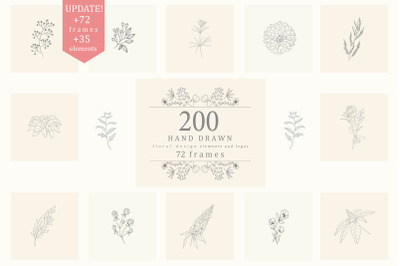 200 Hand Drawn Floral Elements. Frames.